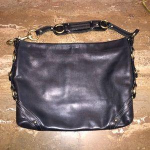Coach Black Leather Gold Bleecker Medium Bag
